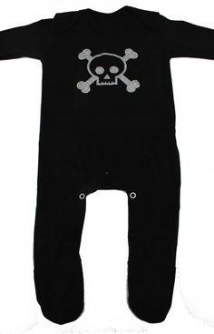 Black Skull Baby Sleepsuit, Alternative Baby Clothes