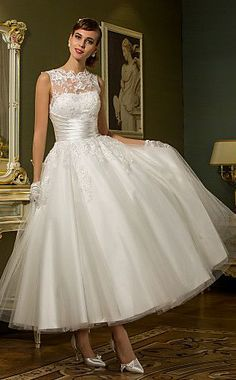 Jewel Ankle-length Tulle Wedding Dress
