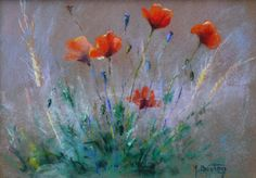 Artwork >> Breton Michel >> corn up and Poppies in (pastel) - Inches x 12 Inches) Crayons Pastel, Pastel Art, Poppies, Flora, Soft Pastels, Artwork, Prints, Painting, Inspiration
