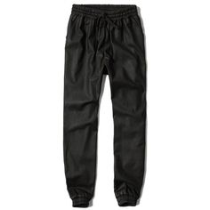 Abercrombie & Fitch Vegan Leather Joggers (51 CAD) ❤ liked on Polyvore featuring pants, black, black pants, relaxed fit pants, jogger pants, relaxed pants and black faux leather pants