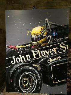 Ayrton Senna by Paul Oz. The finished picture. oil on board. My Dream Car, Dream Cars, Sport Cars, Race Cars, Alain Prost, Car Head, Lotus Car, Speed Art, Automobile