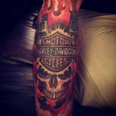 Harley Davidson tattoo   http://tattoo-ideas.us/harley-davidson-tattoo/  http://tattoo-ideas.us/wp-content/uploads/2013/06/Harley-Davidson-tattoo.jpg