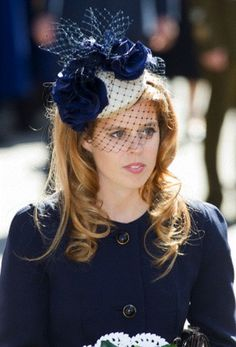 Princess Beatrice in cute white and blue hat