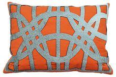 One Kings Lane - In the Details - Sadie 14x20 Pillow, Orange **DIY w cut out felt pieces**