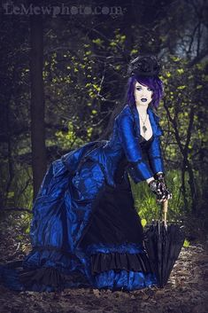 Victorian Gothic Steampunk Reproduction 3pce Set Blue/black Xsmall 2 day SALE
