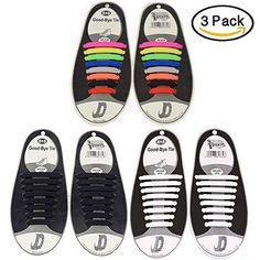 Oferta: 16.99€ Dto: -29%. Comprar Ofertas de Paquete de 3 sin corbata Cordones de zapatos para niños y adultos Impermeables cordones de zapatos Par / 16 piezas (Negro, Bl barato. ¡Mira las ofertas!