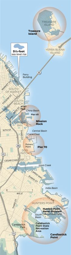 Special Report: Four San Francisco projects — Candlestick Point, Treasure Island, Mission Rock and Pier 70 — will test defenses against a growing bay.
