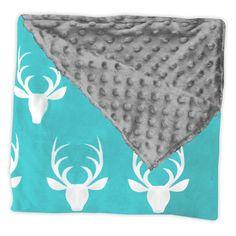 Teal Deer Gray Minky Blanket