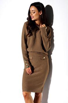 Compleu tricotat Dama PrettyModa.ro Pullover, Sweatshirt, Mode Shop, Sport Casual, Satin, Costume, Sports, Sweaters, Dresses