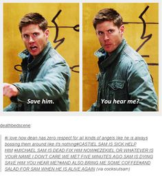 "(gif set) Dean's Respect for Angels ||| Supernatural 9x01 ""I Think I'm Gonna Like It Here""  <3"