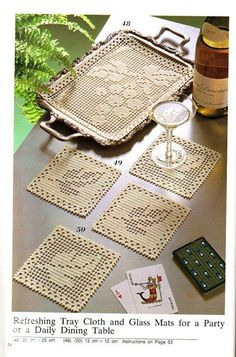 Filet Crochet tray mat and coasters - Grapes and Grape Leaves. Crochet Placemats, Crochet Table Runner, Crochet Doily Patterns, Crochet Squares, Crochet Granny, Crochet Motif, Crochet Designs, Crochet Doilies, Crochet Coaster
