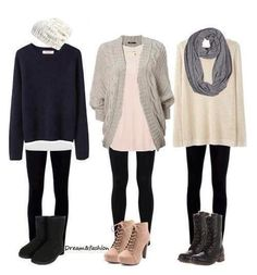 casual winter outfit: leggings and loose sweaters.