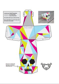 DIY papercraft skull - you can make this as well easily :) Instruções Origami, 3d Paper Crafts, Paper Crafts Origami, Paper Toys, Diy And Crafts, Origami Templates, Box Templates, Foam Crafts, Halloween Crafts