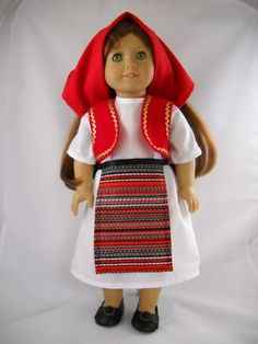 """Fits 18"""" American Girl doll Albania Albanian folk dress clothes D (COSTUME ONLY)"""