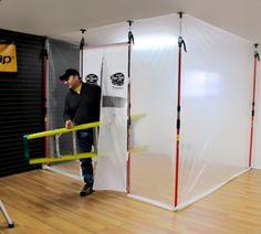 The 3rd Hand Magnetic Dust Barrier Door System. Keep your jobsite clean and your customers happy! #handsfreeselfclosingdoor