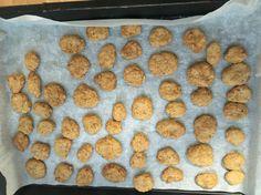 Ho preso ispirazione da 2-3 ricette diverse. Circa  200g di macinato di tacchino  70 g di pancetta 1 uovo intero 1 tazza di farina (ma li vai a occhio finché non diventa denso),io ho fatto metà integrale e metà bianca 3 cucchiai da minestra di burro di arachidi  1/2 tazza di brodo vegetale   Ho fatto delle mini polpettine e le ho schiacciate e le ho messe in forno circa 20-25 minuti a 160gradi