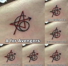 The original Avengers got a matching tattoo - ideas - . - The original Avengers got a matching tattoo – ideas – get have - The Avengers, The Original Avengers, Original Six, Avengers Actors, Avengers Quotes, Avengers Symbols, Avengers Imagines, Original Image, Marvel Tattoos