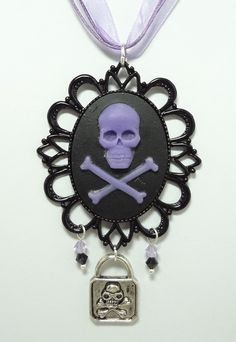 Pirate Cameo Necklace with Czech Crystals, Skeleton and Key Charms - Strung On Triple Purple Ribbon