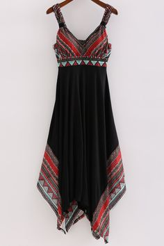 Printed Straps Irregular Hem Dress ==