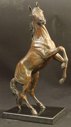 Bronze Horse Sculpture / Equines Race Horses Pack HorseCart Horses Plough Horsess sculpture by sculptor Amanda Hughes-Lubeck titled: 'Spirit of Adventure (Small Rearing Horse statue)' - Artwork View 2