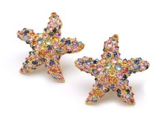 "G. NARDI STARFISH SAPPHIRE EARRINGS~ The famous Venetian jeweler on Piazza San Marco, known for his ""Moretti"" Blackamoor brooches. These earrings are 18k gold set with multicolored precious sapphires."