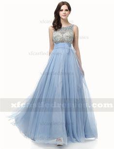 A Line Beaded Tulle Long Prom Dresses Prom Dresses Blue, Formal Dresses, Blue Fabric, Tulle, Color, Fashion, Vestidos, Dresses For Formal, Moda