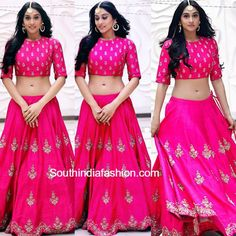 Regina Cassandra in Jayanti Reddy – While promoting her movie Shourya, Regina Cassandra was seen in a pink embroidered lehenga and crop top by Jayanti Reddy. She finished out her look with Pakistani Dresses, Indian Dresses, Indian Outfits, Indian Clothes, Ethnic Clothes, Bollywood Dress, Women's Dresses, Lehenga Crop Top, Lehenga Skirt