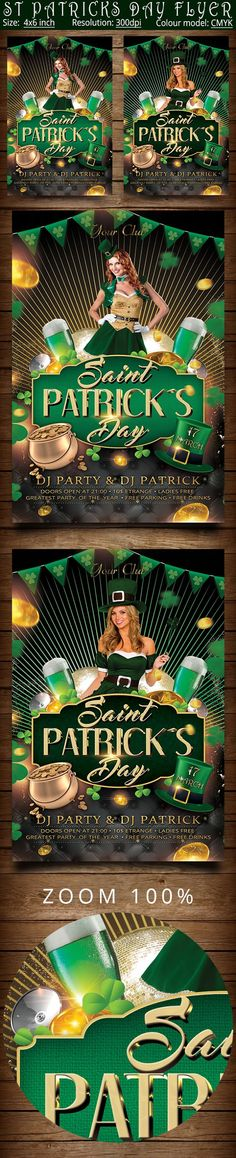 St Patricks Day Flyer Template by oloreon on @creativemarket