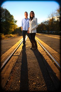 Engagement Photo on Rail Road Tracks