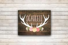 Custom Name Rustic Wood Antlers Nursery Print - Coral Pink Dark Wood Deer Antler Nursery Art Print - 8x10
