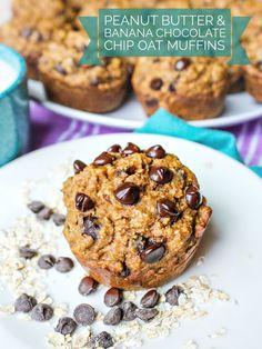 Peanut Butter & Banana Chocolate Chip Oat Muffins 🍌 – Simply Taralynn
