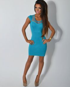 Mesh Panel Bodycon Dress with Peacock Blue