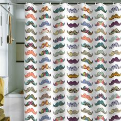 Bianca Green Mustache Mania Shower Curtain. I NEED THIS SHOWER CURTAIN