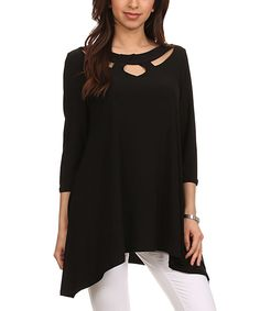 Love this Black Cutout Sidetail Tunic by Come N See on #zulily! #zulilyfinds