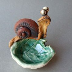 Hungry Snail on a Leaf Ceramic Dish Sculpture by RudkinStudio