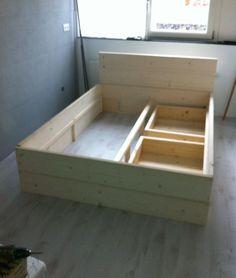 Holzbett schwebend  Massivholz Schubladenbett 180x200 Holzbett Bett Eiche massiv geölt ...