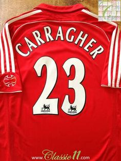 Official Adidas Liverpool home football shirt from the 2006/2007 season. Complete with Carragher #23 on the back of the shirt in Premier League lettering.