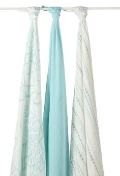 Amazon.com : aden + anais Rayon from Bamboo Swaddle Blanket 3 Pack, Moonlight : Nursery Swaddling Blankets : Baby These are my favorite swaddling blankies ever--they're beautiful, huge, and soooo soft. They're also lightweight, so they're great for the summer!