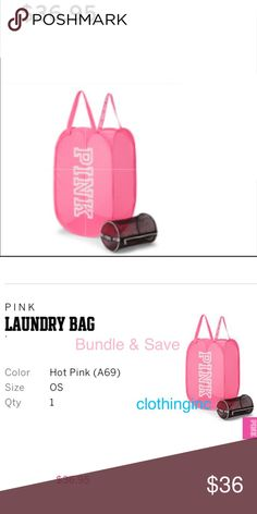 """VS """"Pink"""" Pink Mess Laundry Hamper, New in Package New in Package PINK Victoria's Secret Accessories"""