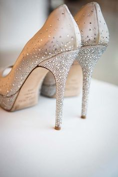 Sparkly gold shoes with glitter heels