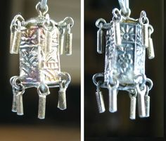 Chinese Lantern Moves Wind Chime Oriental Good Luck Symbol Vintage Silver Charm