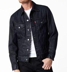 "Levi's slim fit trucker jacket in ""clean shaven"" Love Jeans, Best Jeans, Brown Denim Jacket, Jaket Jeans, Men's Coats And Jackets, Denim Jackets, Well Dressed Men, Denim Outfit, Sweater Jacket"