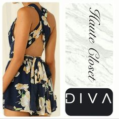 Navy Floral Romper Down And Out Clearance Sale! Beautiful navy floral romper. Extended top wrap straps. Romper can be styled many different ways. Great flow, double lined, super cute! Pants Jumpsuits & Rompers