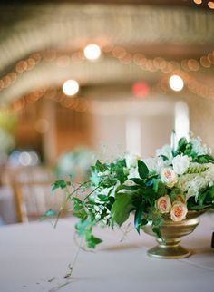 Greenery Centerpiece with Peach Flowers