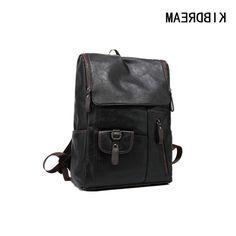 40.00$  Buy now - https://alitems.com/g/1e8d114494b01f4c715516525dc3e8/?i=5&ulp=https%3A%2F%2Fwww.aliexpress.com%2Fitem%2FHigh-Quality-PU-Leather-Men-Backpacks-For-College-Teenage-Boys-School-Bagpack-England-Vintage-14inch-Laptop%2F32709077202.html - KIBDREAM Brand Genuine Leather Men School Backpacks Teenagers Boy Vintage Bagpack England Fashion Travel Laptop Backpack Mochila