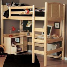 bureau mezzanine idée chambre ado étagères escalier rangement tapis noir