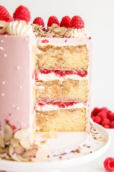 This Raspberry Almond Cake is my version of the classic Bakewell Tart in cake form. Almond cake layers, almond & raspberry buttercream, with fresh raspberries and almond slices. The perfect Bakewell Cake! Rasberry Cake, Raspberry And Almond Cake, Raspberry Buttercream, Raspberry Recipes, Layer Cake Recipes, Homemade Cake Recipes, Homemade Almond Cake Recipe, Cherry Bakewell Cake, Bakewell Tart