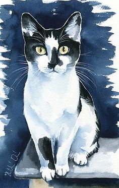 Cats Painting - Jasper Tuxedo Cat Painting By Dora Hathazi Mendes. Watercolor cat art, prints available, open for commission Painting - Jasper Tuxedo Cat Painting By Dora Hathazi Mendes. Watercolor cat art, prints available, open for commissions Animals Watercolor, Watercolor Cat, Watercolor Paintings, Animal Paintings, Animal Drawings, Guache, Cat Drawing, Drawing People, Illustrations