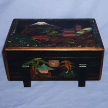 Japanese Black Lacquer Jewelry Box Abalone Inlay Hand-Painted, Shop Rubylane.com