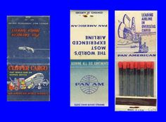 """For many years Pan American was the largest air cargo carrier in the world. Below are two examples of """"Clipper Cargo"""" matchbook covers from..."""